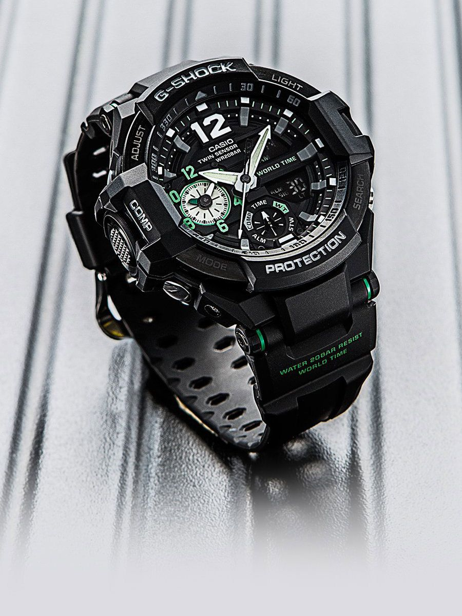 aa82b8f2c Conceived and developed as an aviation timepiece, the Casio GRAVITYMASTER  features functions that work in sync with the needs and wants of  international ...