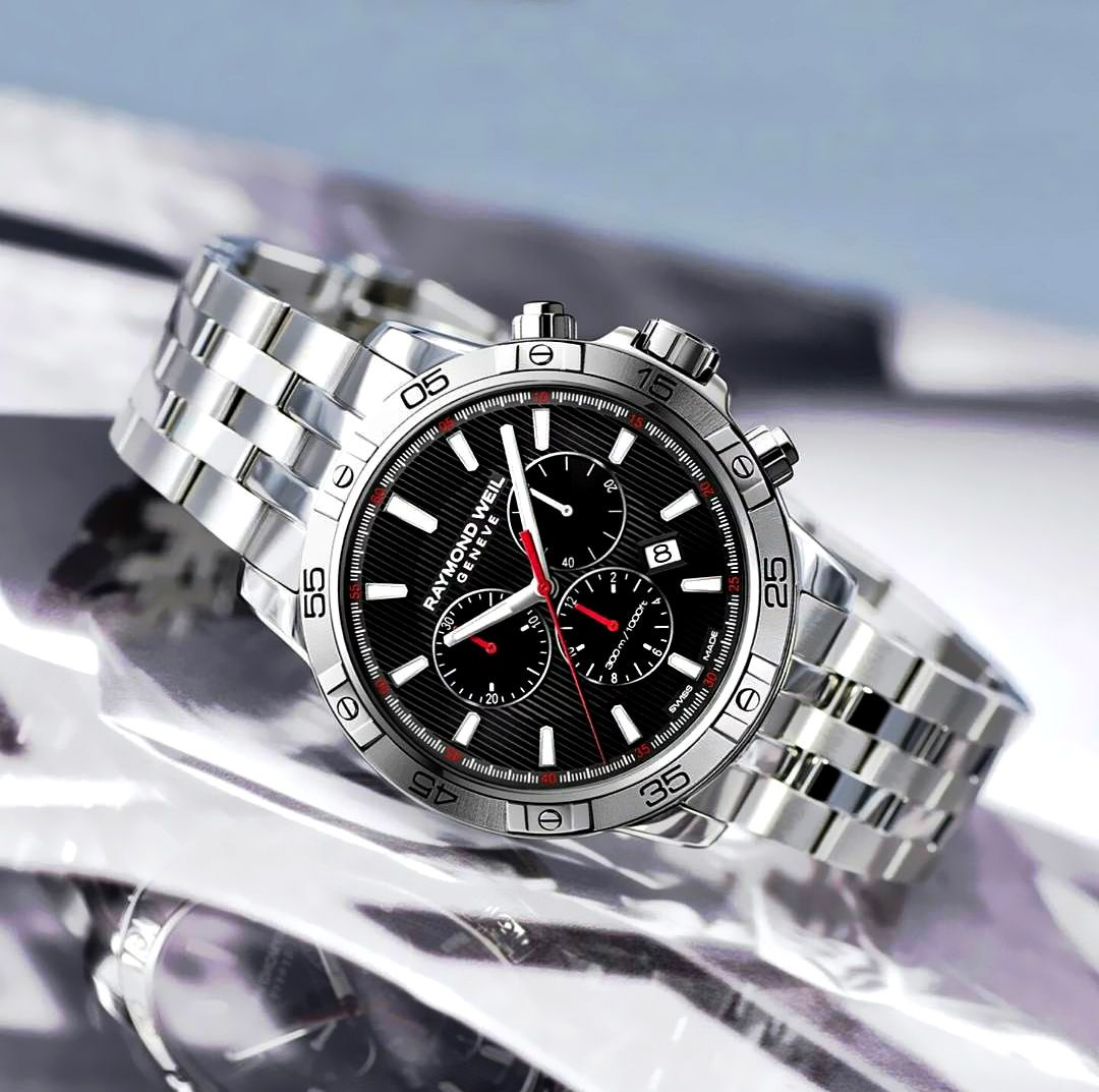 ea75c0f9f A handsome watch that oozes flamboyance, the Tango 300 Chronograph features  a striking black dial, with accents of red and silver